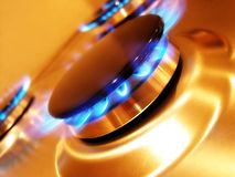 Flame 1. Landscape photo of oven hob gas burner at a dynamic angle stock photo