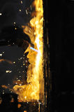 Flame. Cans of paint are burning Stock Photos