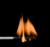 Flame. On burning safety-match Stock Photos