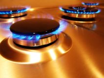 Flame 2. Landscape photo of oven hob gas burners royalty free stock images