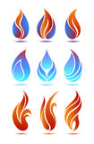 Flame. Symbols red and blue fire on white background vector Royalty Free Stock Photography