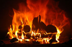 The flame. The firewood blaze in furnace Stock Images