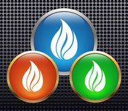 Flame. Vector metal web buttons with flame Royalty Free Stock Image