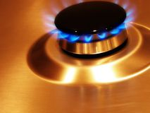 Flame 3. Landscape photo of single oven hob gas burner royalty free stock photo