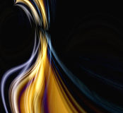 Flame. Abstract illustration of hot flame in yellow, orange, gold and black on a black background with copyspace Royalty Free Stock Image