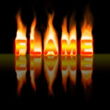 Flame. The word flame catching fire on black background Royalty Free Stock Photography