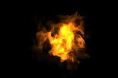 Flame. High detailed burning fire over black Stock Images