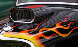 Flame on. Custom rod with flames and supercharger stock photography