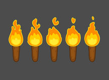 Flame animation for game. Cartoon flame animation for game. Five frames of torch burning. Short, but perfect loop Royalty Free Stock Photo