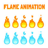 Flame animation for game. Cartoon flame animation for game. Normal and blue magic fire. Short 5 frame loop Stock Photos