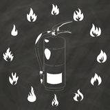 Flame around Fire safety on chalk. Flame icons around Fire safety drawing on chalkboard. In vector style Stock Photos