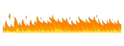 Flame banner horizontal, flat style. Flame banner horizontal. Flat illustration of vector flame banner horizontal for web design Stock Photos