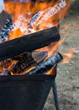 Flame in barbecue Stock Photos
