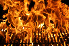 Flame of a Barbecue Stock Image
