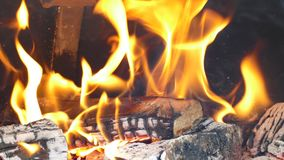 Flame in a barbecue fire place Royalty Free Stock Image