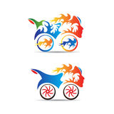 Flame bike. Vector drawing isolated in white background Royalty Free Stock Images