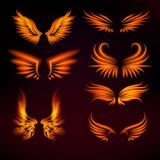 Bird fire wings vector fantasy feather burning fly mystic glow fiery burn hot art wings illustration on black. Flame bird fire wings fantasy feather burning Stock Image