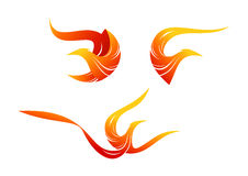 Flame bird logo, phoenix symbol design. In a set Stock Image