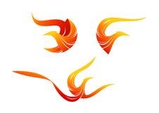 Flame bird logo, phoenix symbol design Stock Image