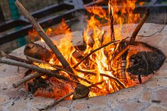 Flame of a bonfire royalty free stock photo