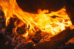 Flame of a bonfire Stock Photo