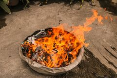 Joss paper burn in fire in Chinese Ghost Festival royalty free stock photo