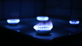 Flame from the burner of a gas stove Stock Photo