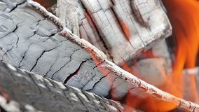 Flame on burning wood stock footage