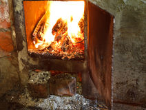 Flame of burning wood in furnace Royalty Free Stock Photography