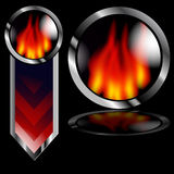 Flame Button Arrow. An image of a fiery flame arrow and button on a black background Stock Photography