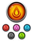 Flame button icon. Glossy flame button icon set in 6 colors Stock Images
