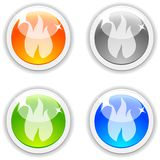 Flame buttons. Flame realistic buttons. Vector illustration Stock Photo