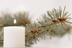Flame of the candle and fir branch Stock Photo