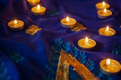 Flame candle lamps for the evening prayers. Diwali lighting royalty free stock photography