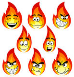 Flame cartoons with many faces isolated on white background Stock Photos