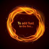 Flame circle background. Burning hot flame strokes circle realistic add fuel to the fire background vector illustration Stock Image