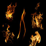 Flame collection. Isolated on black background Stock Photos