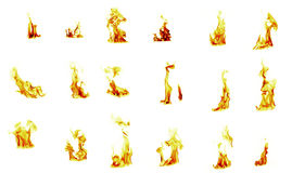 Flame compilation. On white background Stock Photo