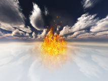 Flame contained in surreal white landscape. High-resolution 3-D illustration Flame in surreal white landscape Royalty Free Stock Photos