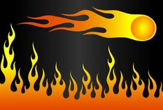 Flame-copy. Vector illustration a flame and fireball on a black background Royalty Free Stock Photography