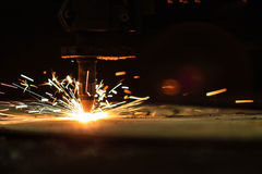 Flame cutting process by plasma cutting machine Stock Photos