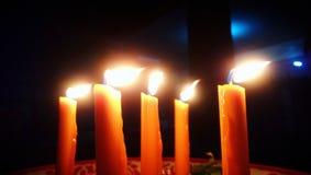 Flame in the dark. stock photo