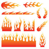 Flame Decal. Set of different kind of flames in different size and shape. Great for vehicle graphic or tattoo design Royalty Free Stock Images