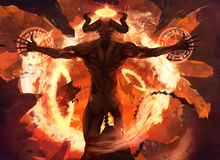 Flame demon. Burning diabolic demon summons evil forces and opens hell portal with ancient alchemy signs illustration Royalty Free Stock Image