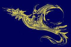 Flame dragon flying on blue background Royalty Free Stock Image