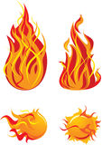 Flame elements. Four flame and fireball elements Royalty Free Stock Photography