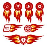 Flame emblems. Flame stickers for racing, workshop, engine and driver stuff. Vector illustration Royalty Free Stock Photo