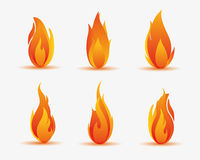 Flame energy illustration. Six kinds red flame illustration Stock Image