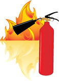 Flame and extinguisher. Isolated on the white. Illustration Stock Image