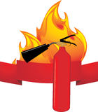 Flame and extinguisher. Icon Stock Photos